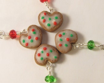 Gingerbread Cookie Heart Christmas Dangle Earrings -  polymer clay