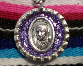 mother teresa upcycled bottle cap necklace