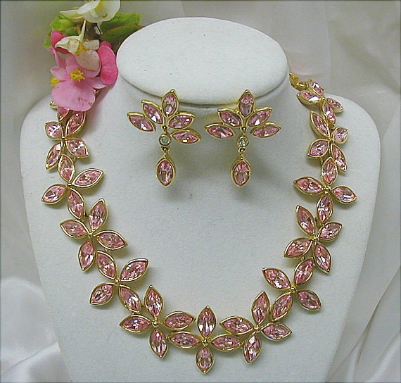 RESERVED(SOLD) for Susan Pink Perfection Monet Rhinestone Demi Parure