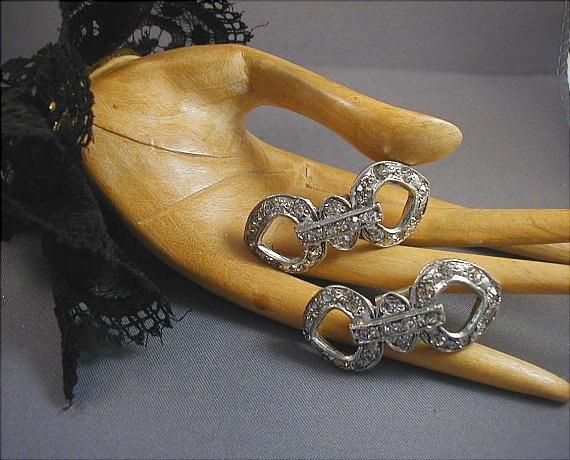 Vintage Art Deco Silvertone Crystal Rhinestone Shoe Clips