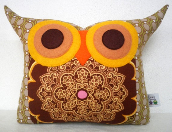 Express shipping US and Canada /Amy Butler fabric brown olive owl pillow/Ready to ship