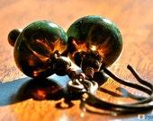 Green Glass Earrings. Earthy. Artisan.