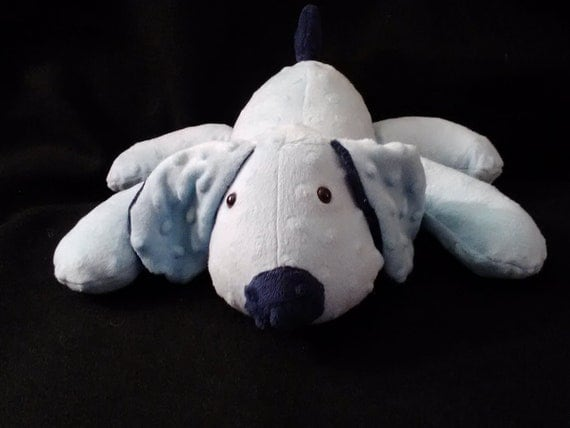 Stuffed Puppy Dog Soft Toy....  Baby Blue and Navy Blue Minky Dot Fabric