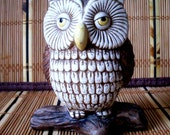 Vintage Fat Owl Figurine on Log