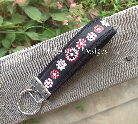 Red and Black Jacquard Handmade FOB Key Chain Wrist Wristlet Misha Cole Designs Ribbon Buy 2 Get 1 Free