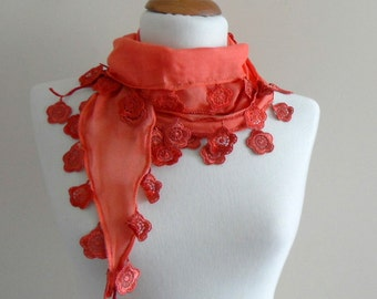 Coral Scarf - Cotton Scarf - Cowl with Lace Edge - Flower Scarf - Bridesmaid Gift