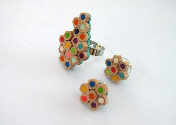 Ring and Earrings  - Extraordinary Pencil Slice Polymer Clay Ring and Stud Earrings