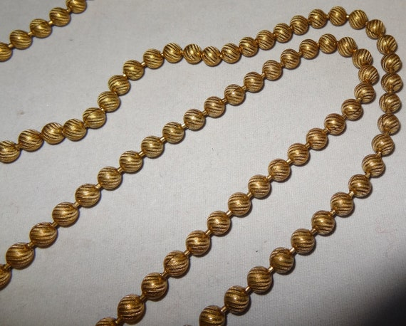 Vintage 60 Inch Goldtone Metal Bead Necklace circa 1960s