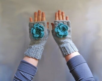 32 Two needles knit fingerless glove pattern tutorial with photos in PDF