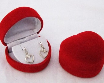 12 Red Flocked Heart Shaped Earring Gifts Boxes