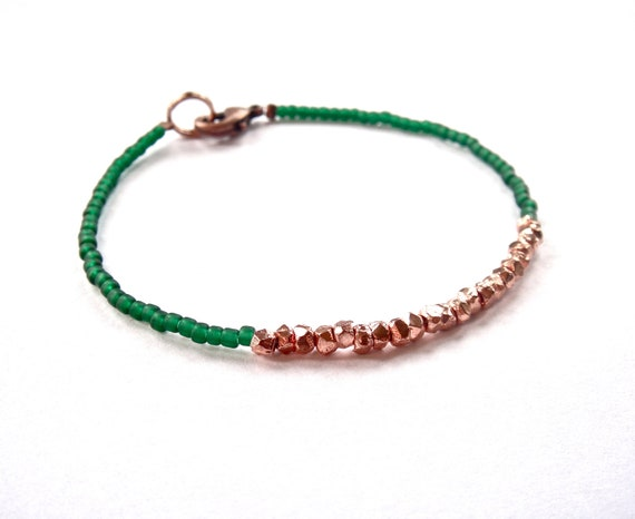 SALE // heartlines in hunter green & copper // dainty bracelet with mini geometric nugget copper beads and hunter green matte seed beads
