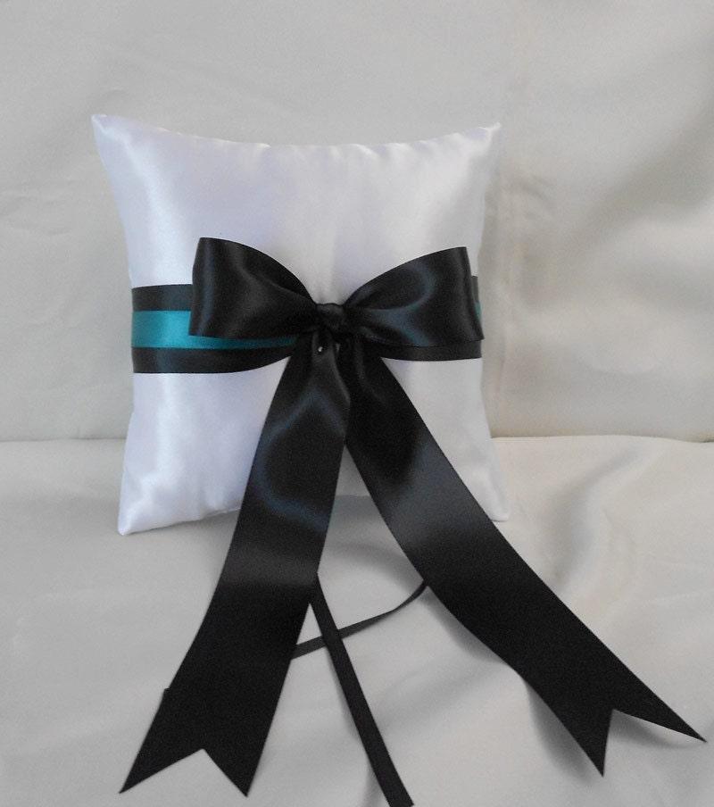 Wedding Accessories White Black Teal Flower By