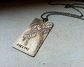 """Etched Nickel Palm Tree Necklace - """"Breathe"""""""