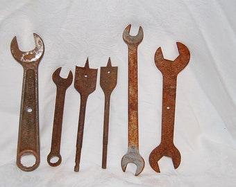 Vintage Weathered Tools Rusty Spade Drills and Wrenches Lot of Six Rustic Pieces
