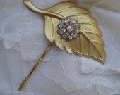 Golden Leaf Crystal Hair Pin