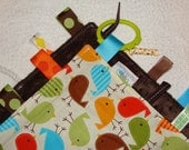Sensory Rag Security Blanket Lap Blanket tags: Bermuda Birds