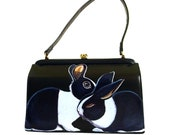 RESERVED Whispering Rabbits handpainted classic Kelly box purse