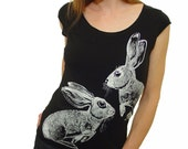 Cottontail rabbit tshirt - eco friendly white ink screenprint on black cotton scoop neck - womens sizes S, M, L, Xl