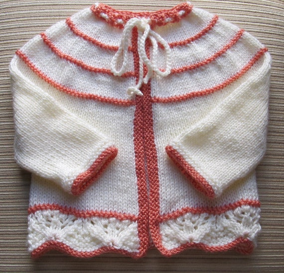 Number 61 KNITTING PATTERN Baby Cardigan With a Yoke 12-18 Months