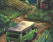 Traveling VW Bus II Matted and Signed Print - 8x10