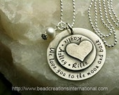 NEW Sterling Silver We Love You To The Moon and with Three Names Heart Stacked on Top Hand Stamped Necklace