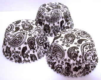 Black Paisley Cupcake Liners- Choose Set of 50 or 100