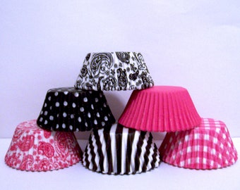 90 Pink and Black Cupcake Liner Assortment