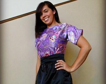 Purple Boatneck Dress, Vintage Inspired Dress, High Neck Dress, Modest Dress, Party Dress, Fashion Dress, pencil skirt - custom made