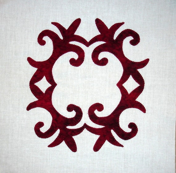 Fleur de Lis Baltimore Album Appliqued  Quilt Block