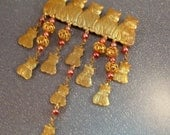 Vintage Cat Pin Big Bold Dangle Red Beads Goldtone Cats