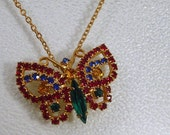 Rhinestone Butterfly Necklace in Blue Red and Green