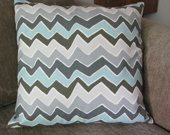 "One Decorative Pillow Cover, 18"" x 18"", Zigzag Stripe, Aqua, Cream and Shades of Gray"