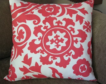 "One Decorative Pillow Cover, 18"" x 18"", Coral and White Suzani Print"