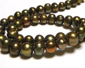 """Pearls with GIANT holes olive green color 7"""" strand hard to find special large holes"""