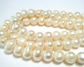 Pearls with GIANT holes creamy white color WHOLE strand hard to find special large holes