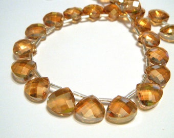 Silky Amber Crystal briolettes flat heart top drilled checker faceted