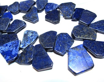 Lapis Lazuli flat organic top drilled drops or pendants slabs