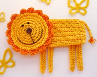 Lion Coaster - Crochet Coaster - Kids Coaster - Animal Coaster - Drink Coaster - Gift for Kids - Lion Applique - Baby Shower Gift