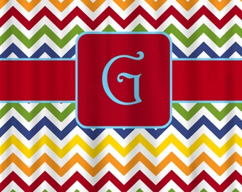 Personalized Shower Curtain - Rainbow Chevron -Accent Colors Your Choice