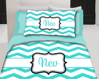 Chevron Monogram Duvet Cover and shams- Personalized - Available Sizes Twin, F-Queen, King- YOUR COLOR Choice