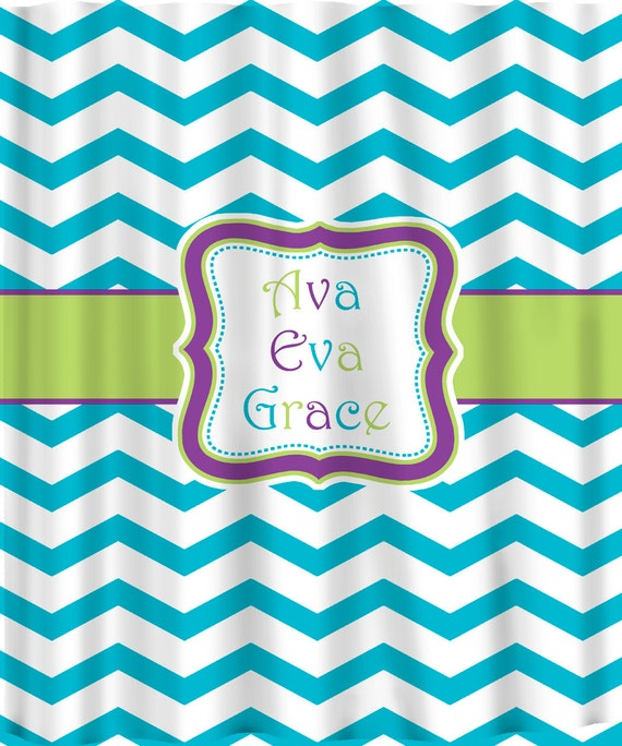 Personalized Shower Curtain - Turquoise & White Chevron with Your accent colors