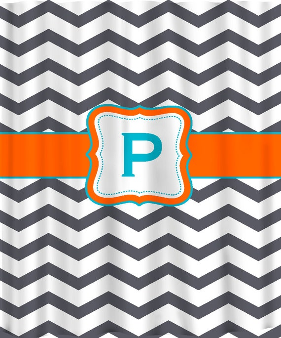 Personalized Shower Curtain - Dk Grey & White Chevron with Accent colors of your choice