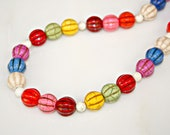 Turquoise Necklace - Chunky Rainbow Multi Color Pumpkin Style and White Howlite Beads by Mei Faith