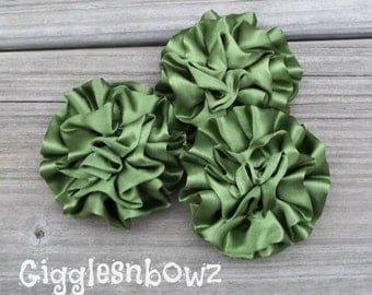 Set of 3 Beautiful OLIVE GREEN Satin Rosettes Puff Flowers