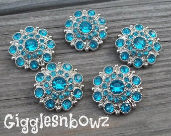 NEW Set of Five LIMITED EDITION Turquoise Acrylic Rhinestone Buttons 27mm
