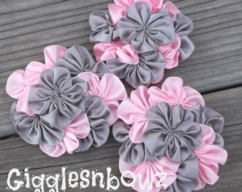 Set of THREE AMAZiNG Satin CLuSTeR Flowers- Pink/Silver- NEW 3 inch Size