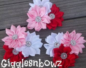 Set of THREE Embellished Spikey Satin CLuSTeR Flowers- VaLeNTiNE'S DaY- NEW  2.5-3 inch Size
