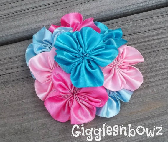 Single AMAZiNG Satin CLuSTeR Flower- Turquoise and Pink- 4 inch