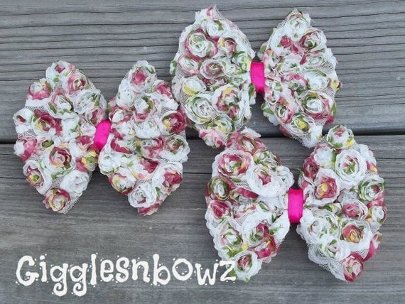 Floral CoLLeCTiON- Set of THREE Large Size Shabby ROSE Mesh BoWS- 4.5 inch