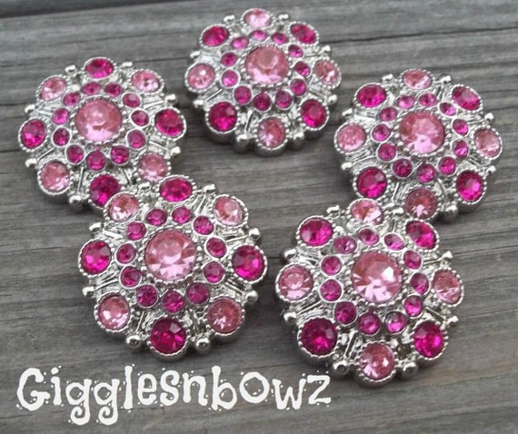 NEW Set of Five LIMITED EDITION Two-Tone Pink and Shocking Pink Acrylic Rhinestone Buttons 27mm